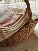 Freshly-washed linen in basket