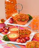Cupcakes decorated with chrysanthemums