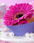 A muffin topped with a gerbera flower