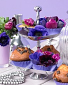 Muffins topped with anemones