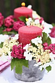 Candle holder arrangements with red hawthorn & lacecap hydrangea