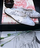 Mules with Toile de Jouy pattern on photo album with cotton cover