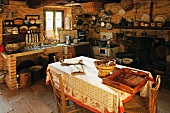 Dining table in rustic kitchen