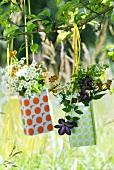 Blumen in bunten Blechdosen am Baum hängend