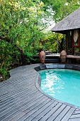 Wooden deck surrounding free-form pool