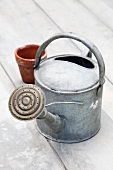 A watering can and a flowerpot on a wooden surface