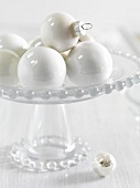 White Christmas tree baubles
