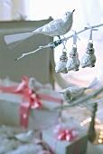 Bird-shaped Christmas tree decorations