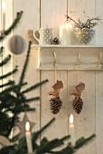 Holzzapfen mit Elchköpfen an Holzgarderobenleiste, darüber Geschirr und Kerzen