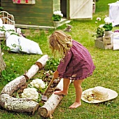 Cauliflowers and lettuces in vegetable patch edged with logs; barefoot little girl hoeing bed
