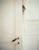 A young woman behind a door