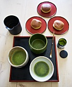 Japanese tea service with Matcha green tea and pastries