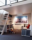 Playroom with sofa below mezzanine