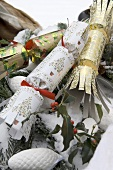 Christmas crackers in snow