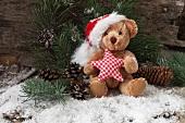 Christmas arrangement with teddy bear