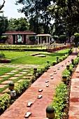 The Gandhi Smriti Museum in New Delhi - the footprints mark Gandhi's last steps