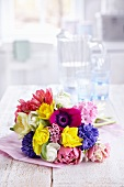 Spring bouquet of hyacinths, narcissus, tulips, ranunculus and anemones