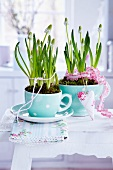 White grape hyacinths planted in cup and cereal bowl and decorated with ribbons and fabric heart