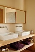 Washstand with twin basins and shelf in base unit in corner of simple bathroom