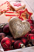 Christmas biscuits, baubles & decorative heart