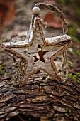Selbstgebauter Weihnachtsstern auf Baumstamm aufgestellt