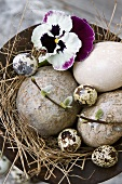 Top view of dish decorated with bird's eggs and pansy in straw nest