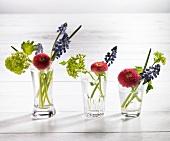 Spring posies in glass vases