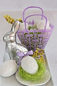 Tin Easter bunny mould and ceramic eggs