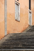 Exterior staircase of a building in Rome, Italy