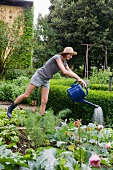 Woman watering plants in backyard