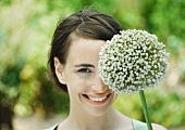 Woman and allium flower