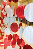 Decorative red and white garlands