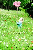 Little girl holding up butterfly net, standing in field of flowers