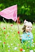Girl holding up butterfly net, standing in field of flowers