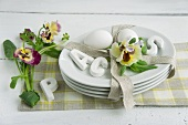 Easter table centrepiece of pansies & eggs