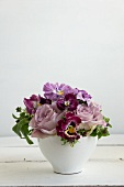 Posy of pansies & scented roses