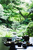 Traditional Japanese meal on table outdoors