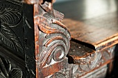 Detail carved wooden bench