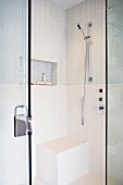 Modern tile and glass shower