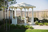 Small backyard gazebo with patio furniture