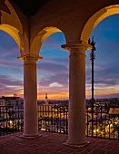 Balcony with view of Santa Barbara at sunset