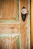 Crystal doorknob on wooden door