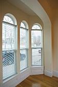 Bay window in empty apartment