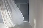 A white curtain blowing in the wind