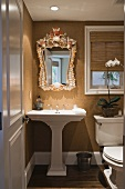 Pedestal sink in small half bath