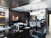 Langer Couchtisch und gemütlicher Ledersessel vor Essplatz in offenem Wohnraum in klassisch modernem Stil