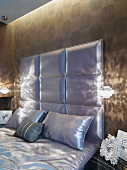 Detail satin headboard and bedding