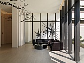 Modern sitting area with sectional sofa