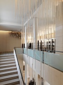 Modern staircase and light fixture