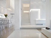 Modern white interior with staircase